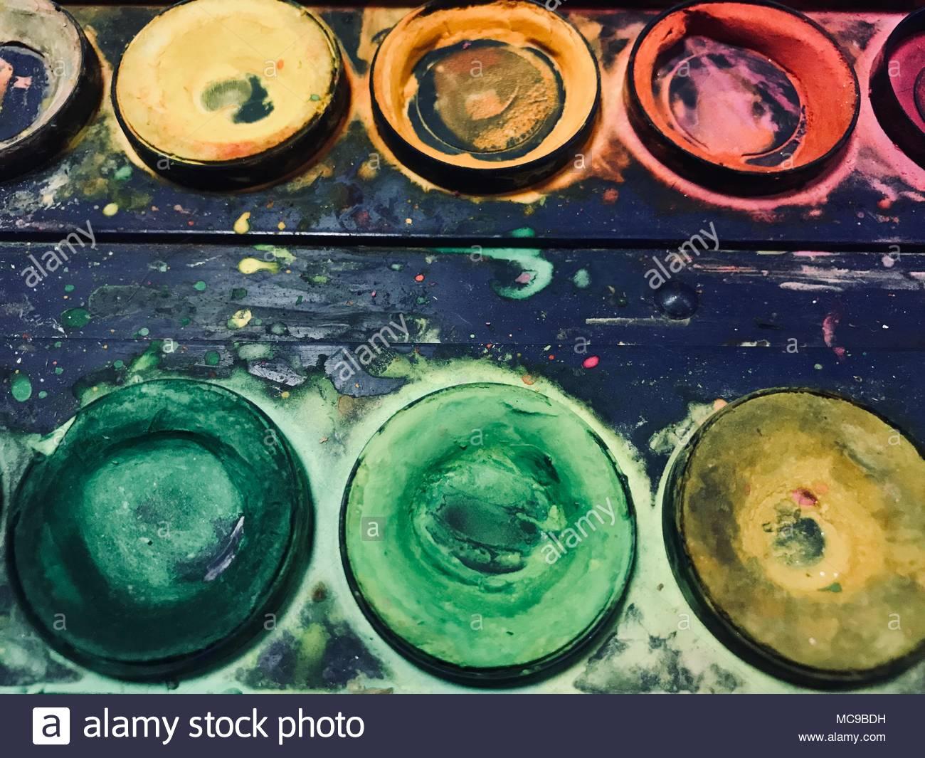 Watercolor paints  Closeup Stock Photo: 179686125 - Alamy