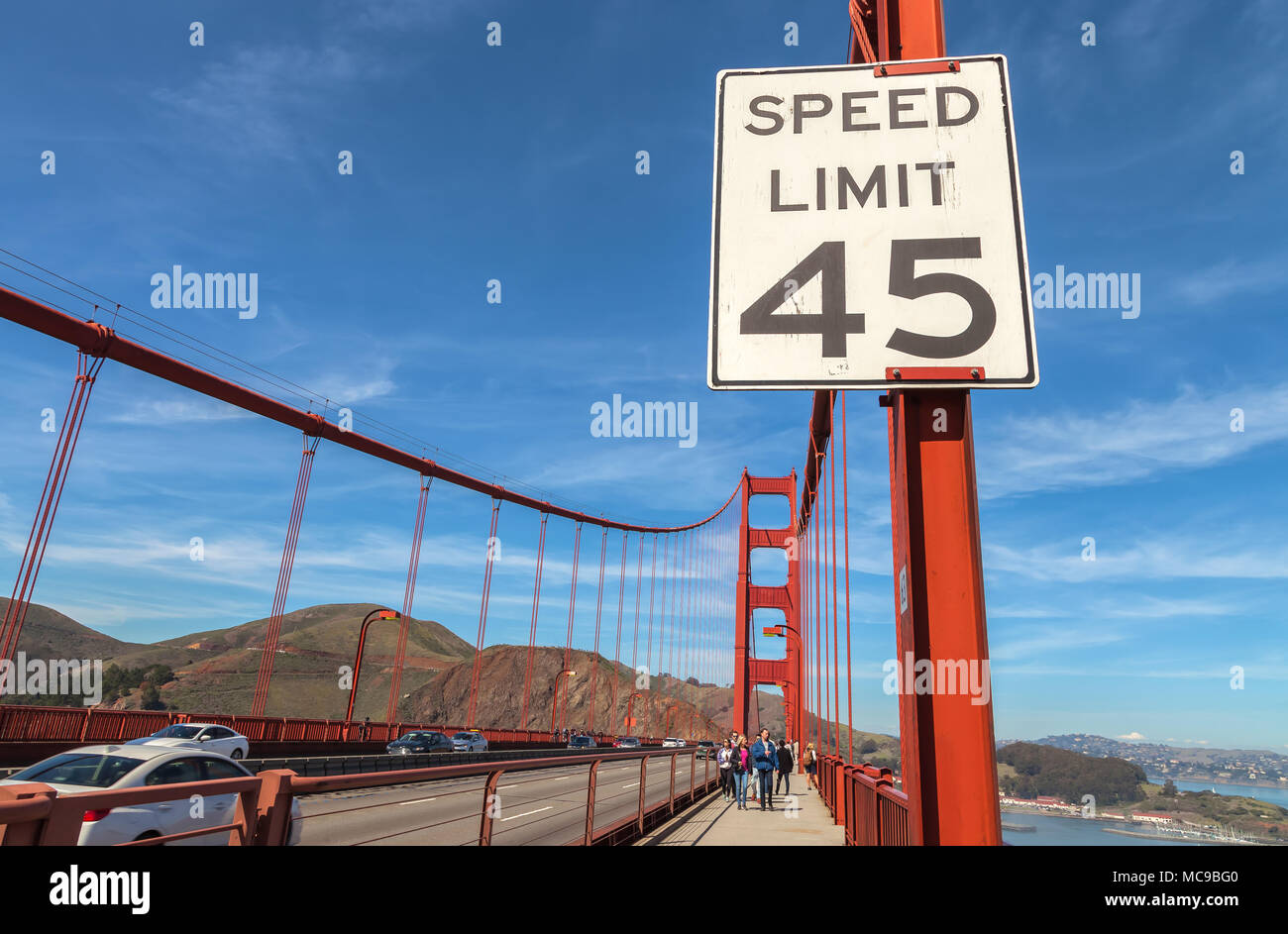 Driving speed limit sign on the Golden Gate Bridge, San Francisco, California, United States. - Stock Image