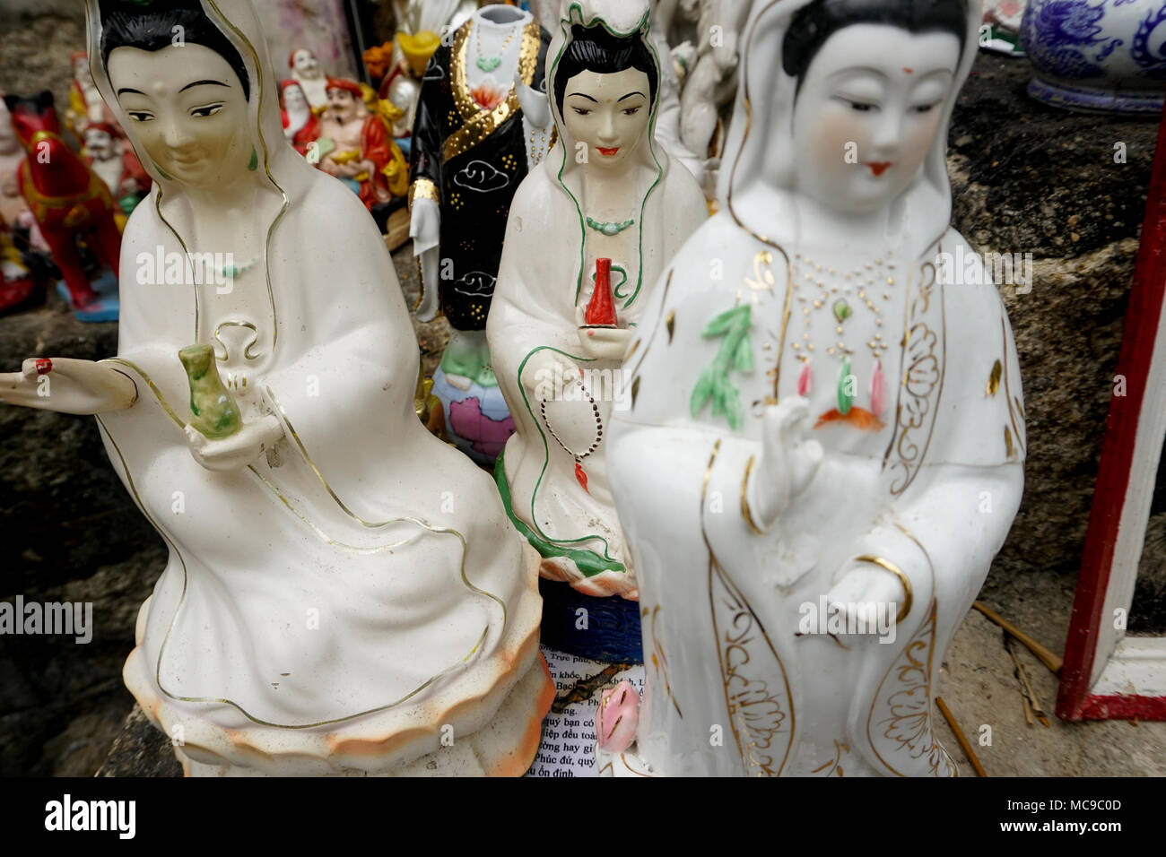 Chua Long Son Pagoda, Nha Trang, Vietnam. Guanyin, goddess of mercy, is worshipped throughout China and Vietnam. Stock Photo