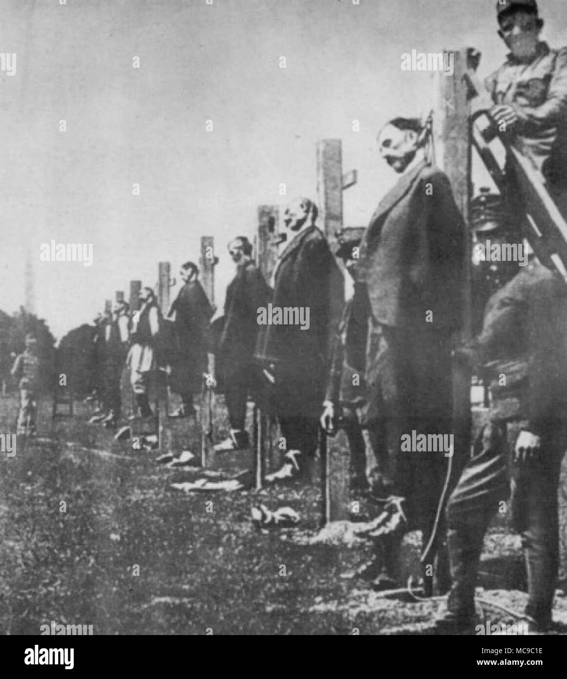 Mass execution of Serbs by Austro-Hungarian army in 1916 - Stock Image