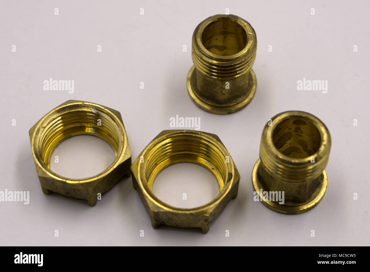 Bronze nut with trapezoidal thread - Stock Image