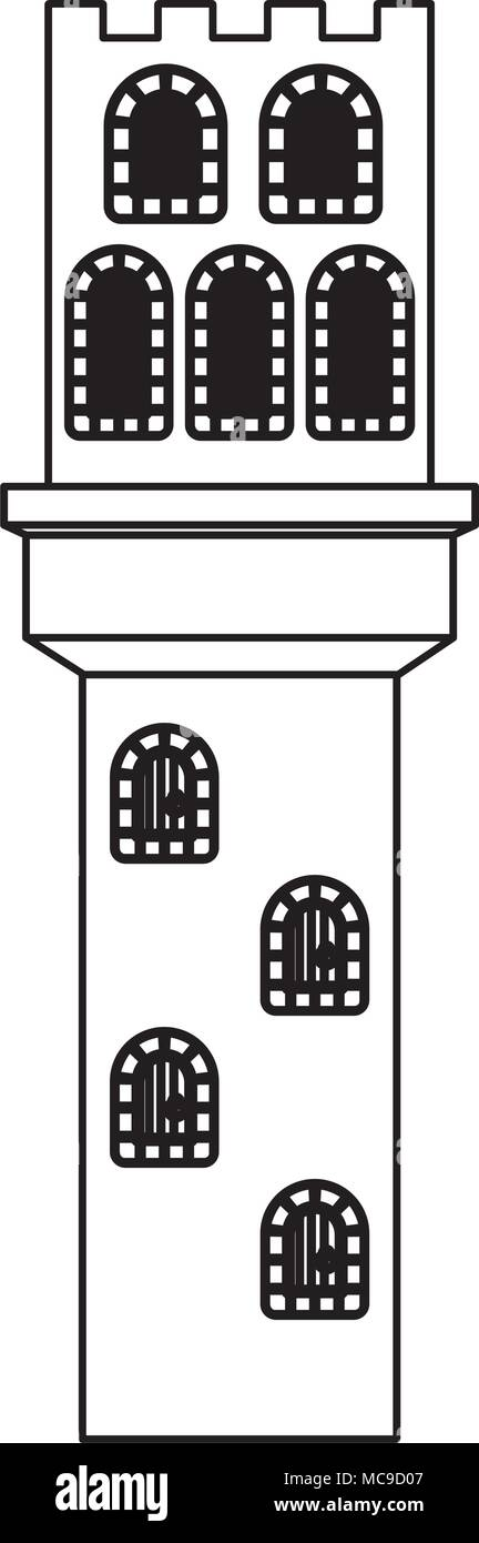 tower of medieval castle with balcony - Stock Vector
