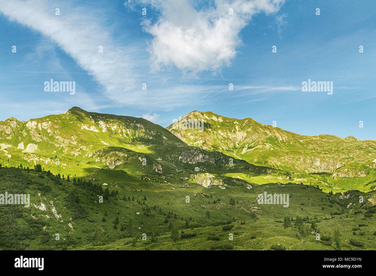 Mountain landscape in Italy. Pass of the cow from Tito Secchi refuge in Valsabbia, Brescia, Italy. - Stock Image