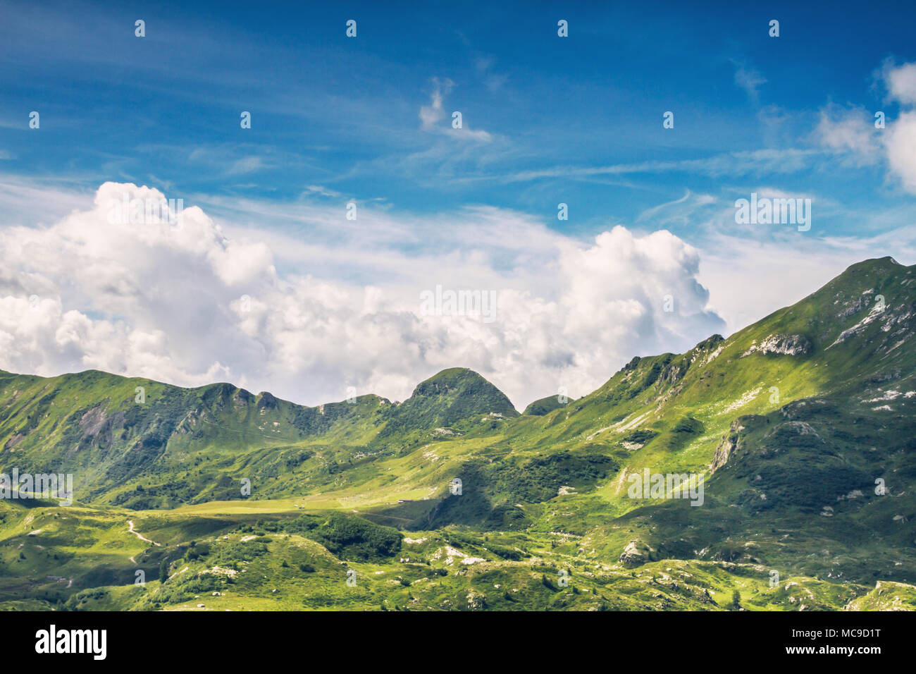 Panoramic view in Mount Gaver National Park, North Italy. Valsabbia, Brescia, Italy. - Stock Image