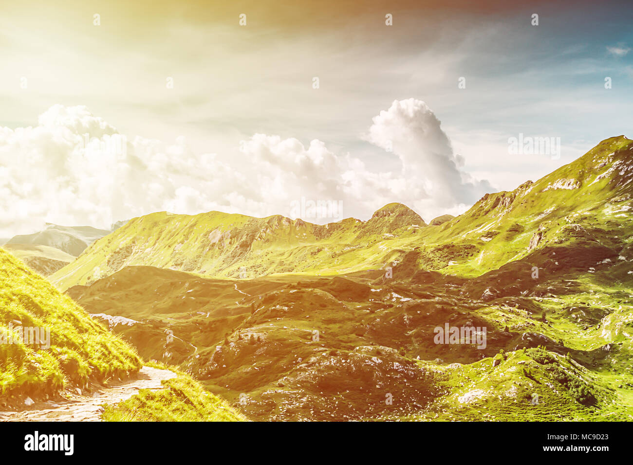 Summer sunny mountain landscape in Valsabbia, Brescia, Italy. - Stock Image