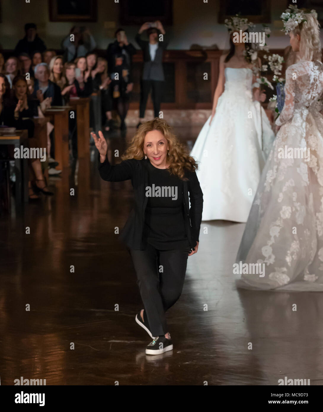 New York Ny April 12 2018 Designer Reem Acra Walks The Runway At The Reem Acra Bridal Spring 2019 Collection Runway Show During Ny Fashion Week B Stock Photo Alamy