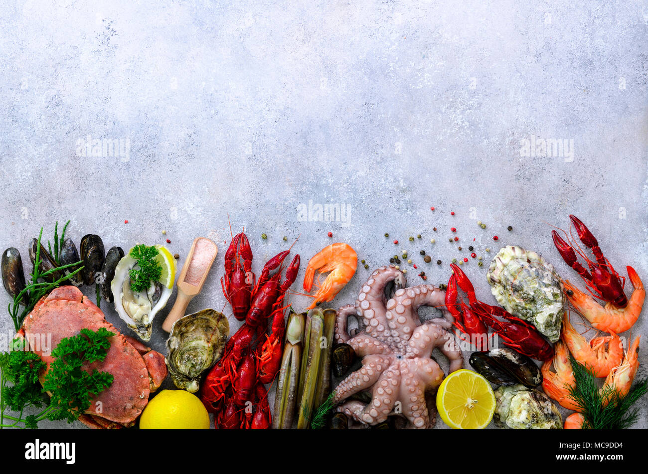 Seafood background - fresh mussels, molluscs, oysters, octopus, razor shells, shrimps, crab ...