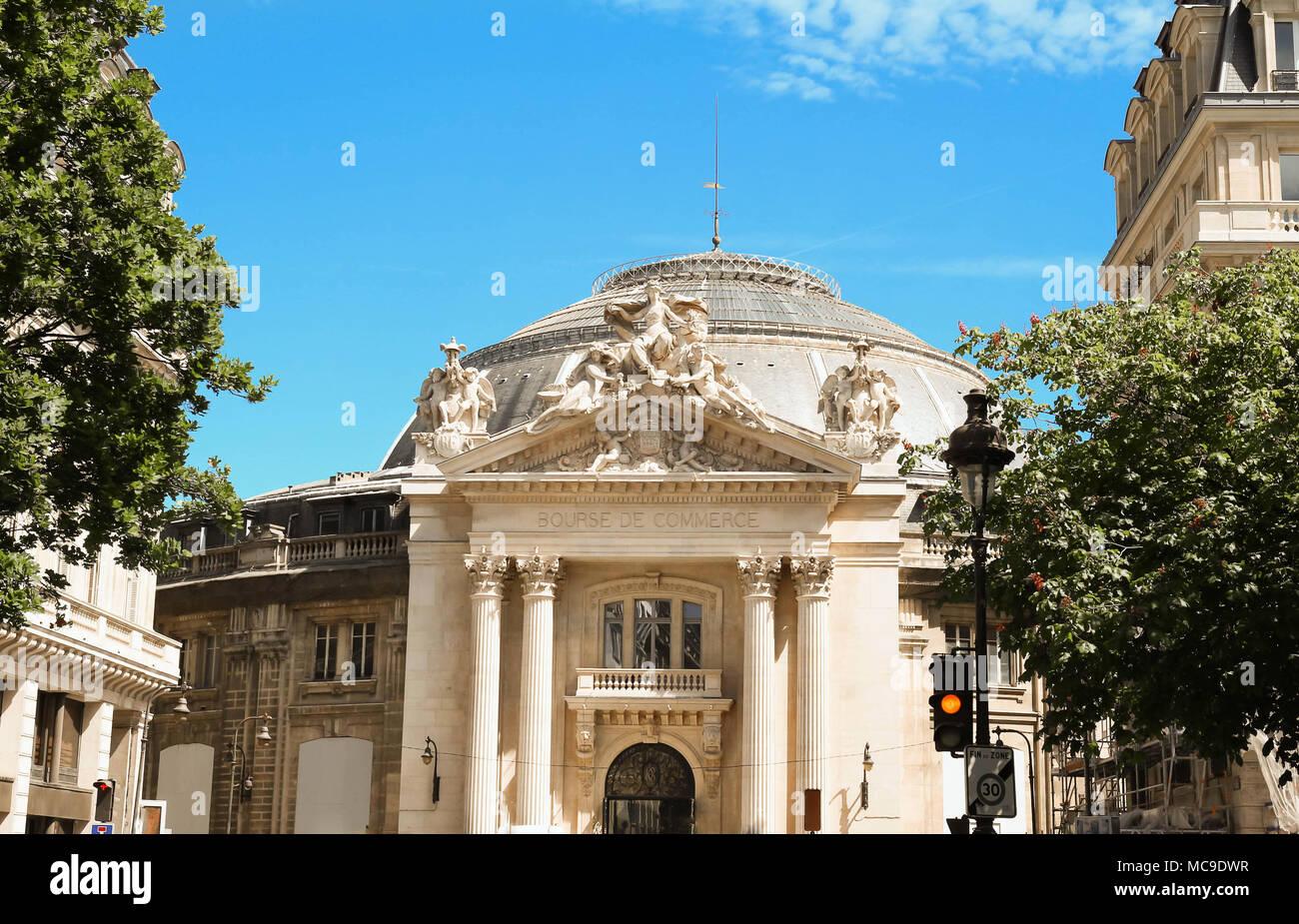 The Front facade of Bourse de Commerce Commodities Exchange of Paris. - Stock Image