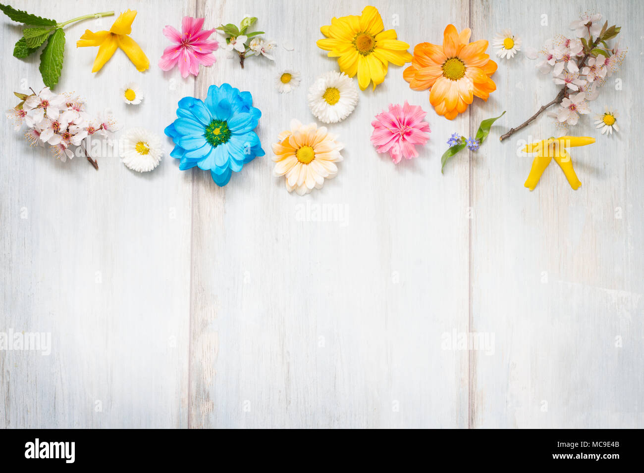 Spring Summer Flowers On Wooden Retro Planks Abstract Floral