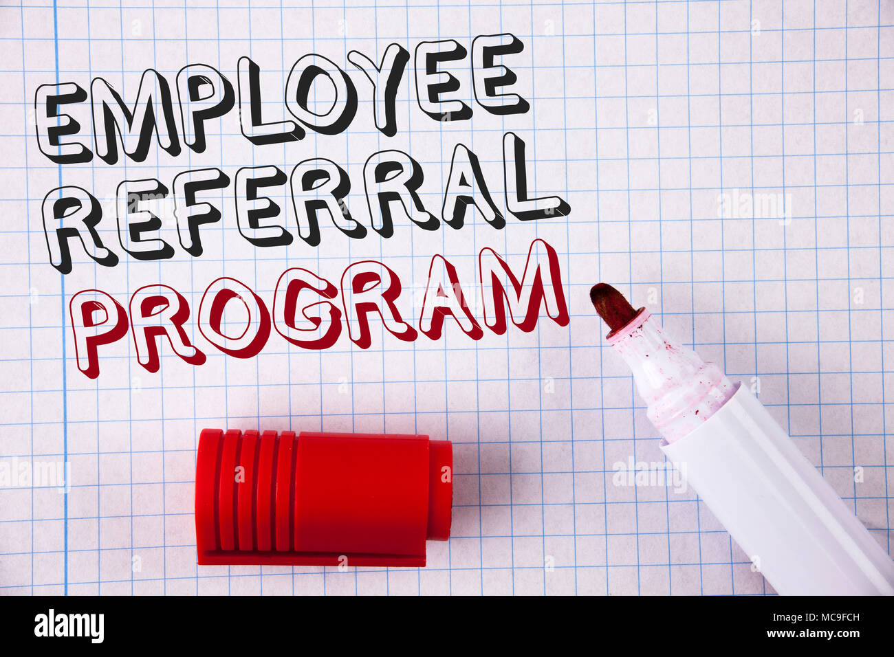 Text sign showing Employee Referral Program. Conceptual photo Recommend right jobseeker share vacant job post - Stock Image