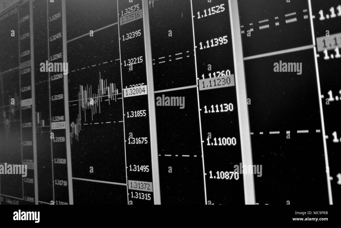 Forex trading screen with charts and graphs in black and white - Stock Image