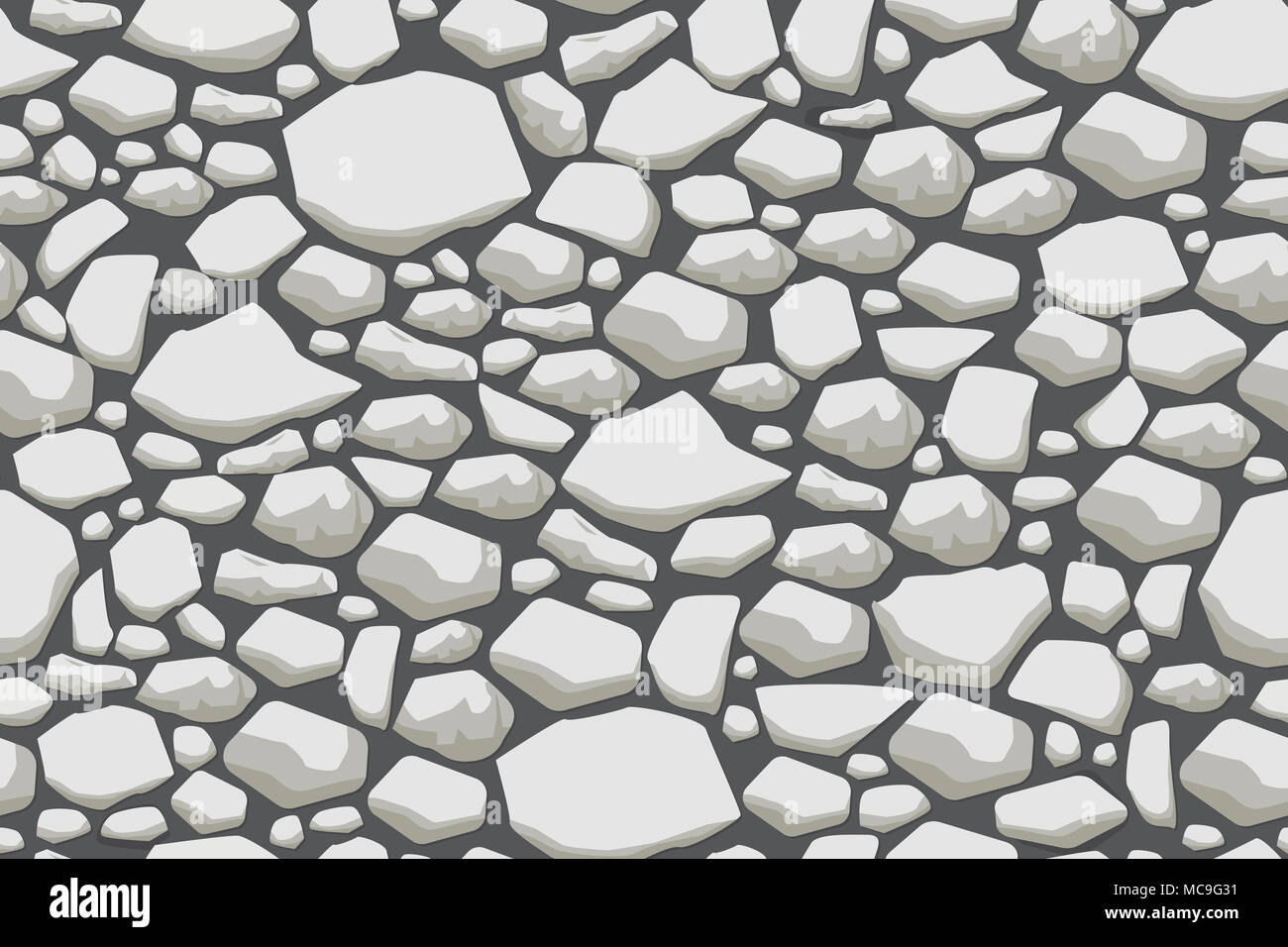 Grey stone wall texture  Vector seamless background Stock
