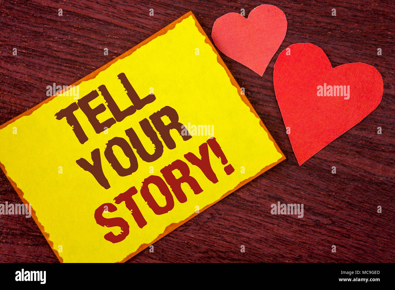 Conceptual hand writing showing Tell Your Story Motivational Call. Business photo text Share your experience motivate world written Yellow Sticky note - Stock Image