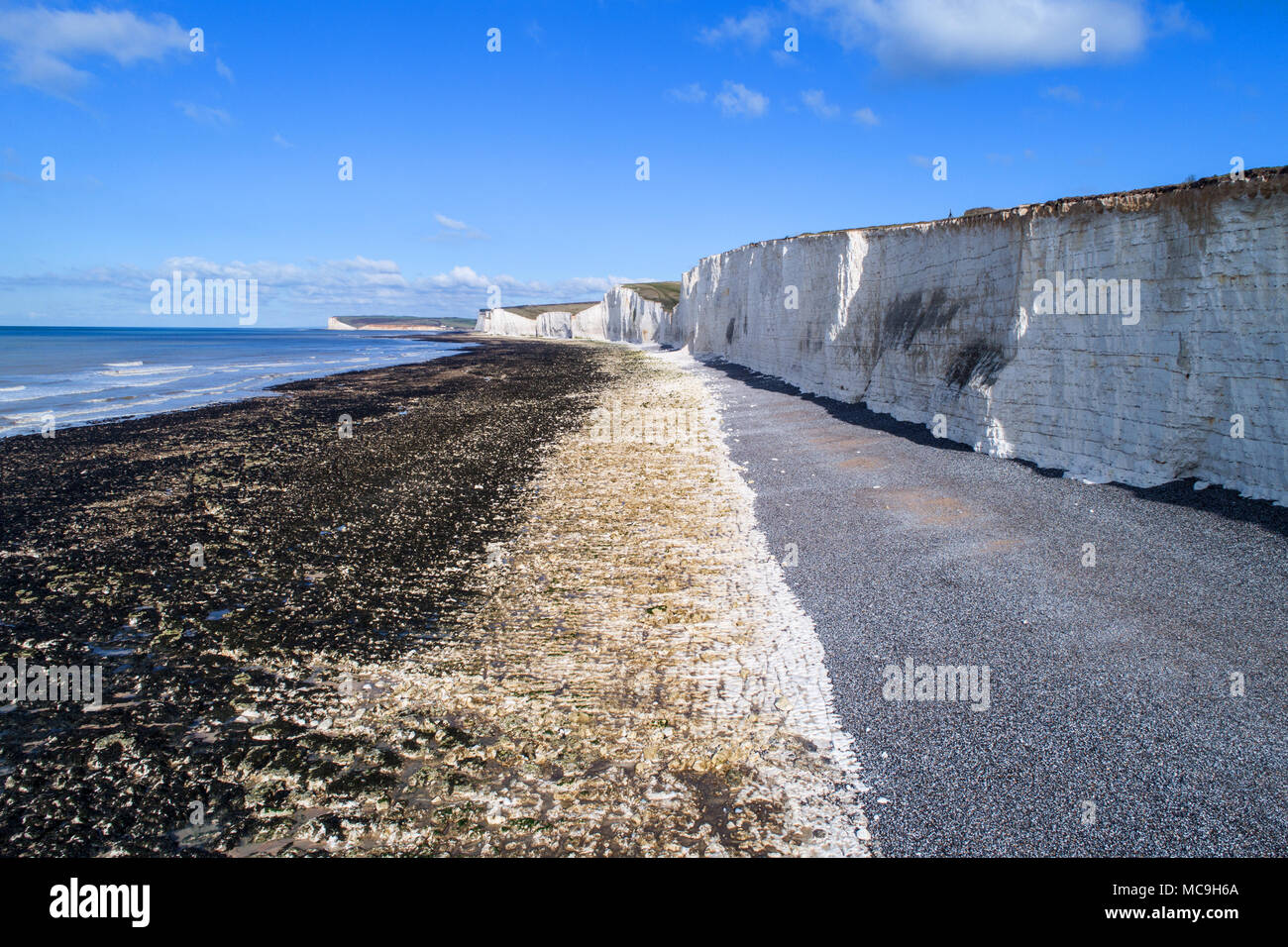 aerial vier of birling gap and the seven sisters on the sussex coast by drone Stock Photo