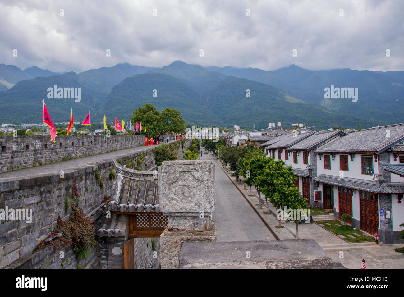 Ancient Chinese Architecture House Building Stone Brick Road