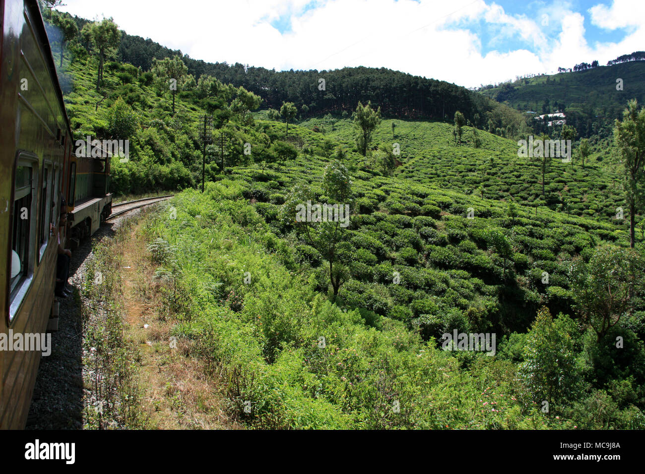 Taking a scenic train ride from Ella to Kandy, passing tea plantations, deep canyons and stunning landscapes - Stock Image