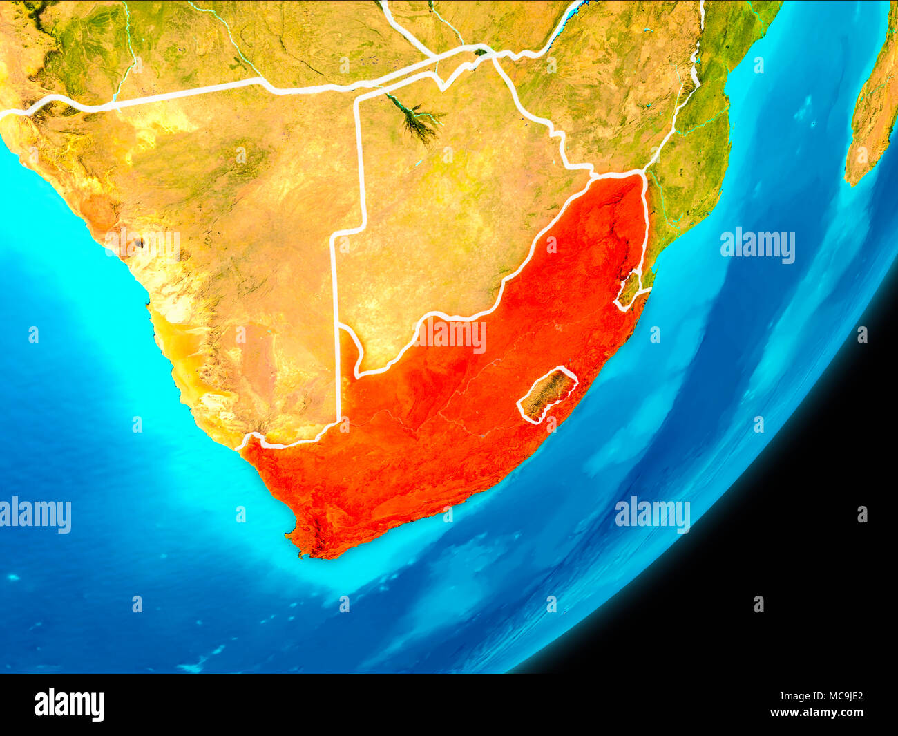 Map Of Africa From Space.Map Of South Africa In Red As Seen From Space On Planet Earth With
