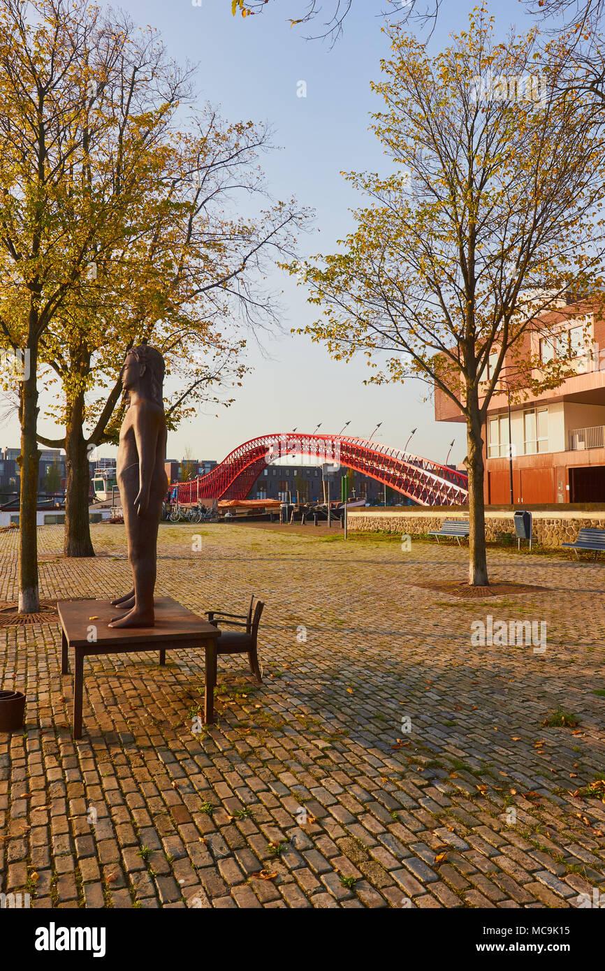 Sculpture near Python Bridge (Pythonbrug), Oosterdokseiland (eastern docklands), Amsterdam, Netherlands. Stock Photo