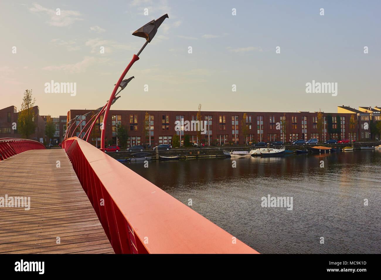 Python Bridge (Pythonbrug), Oosterdokseiland (eastern docklands), Amsterdam, Netherlands. Stock Photo