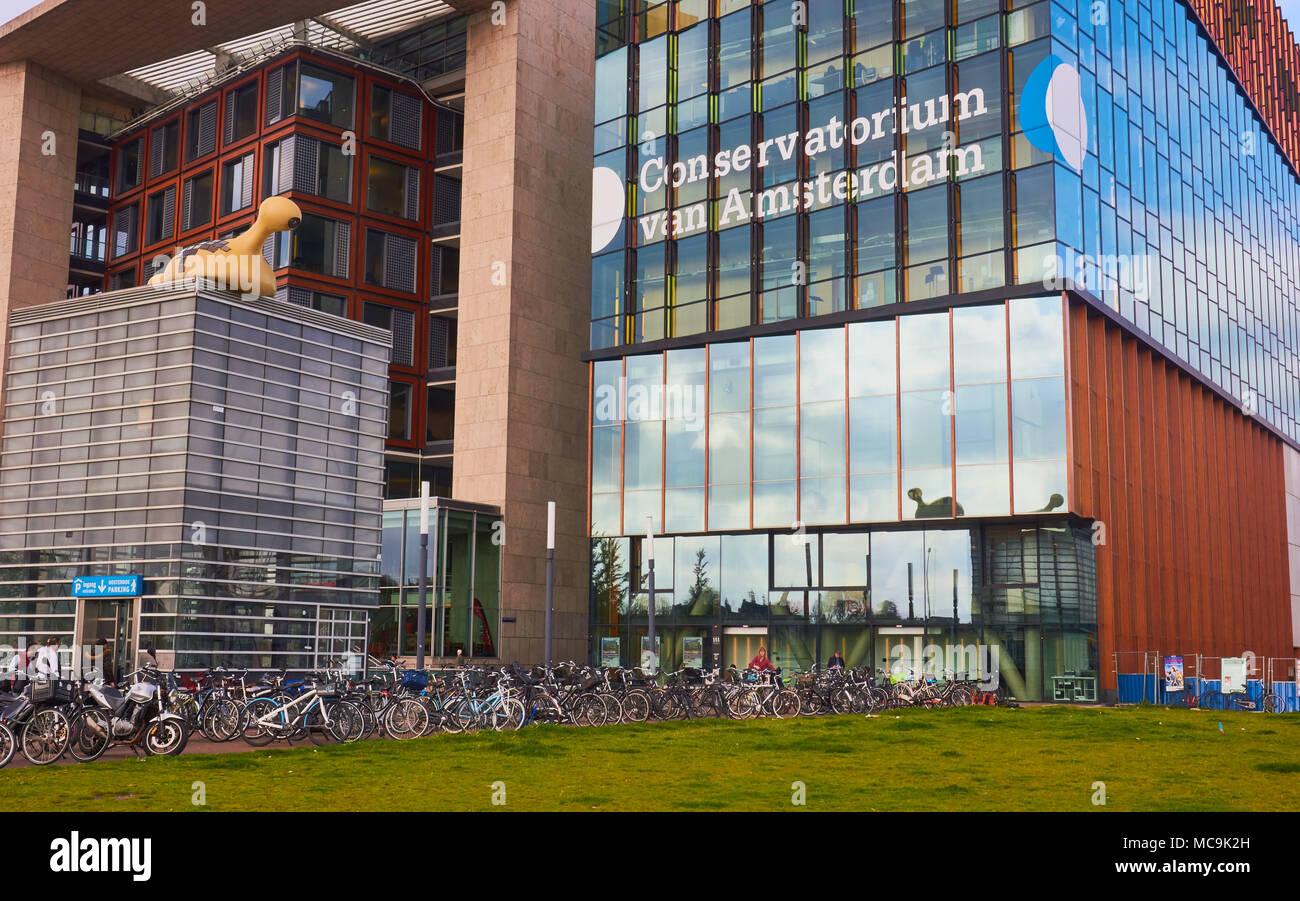 Conservatorium Van Amsterdam, Oosterdokseiland (eastern docklands), Amsterdam, Netherlands. Stock Photo
