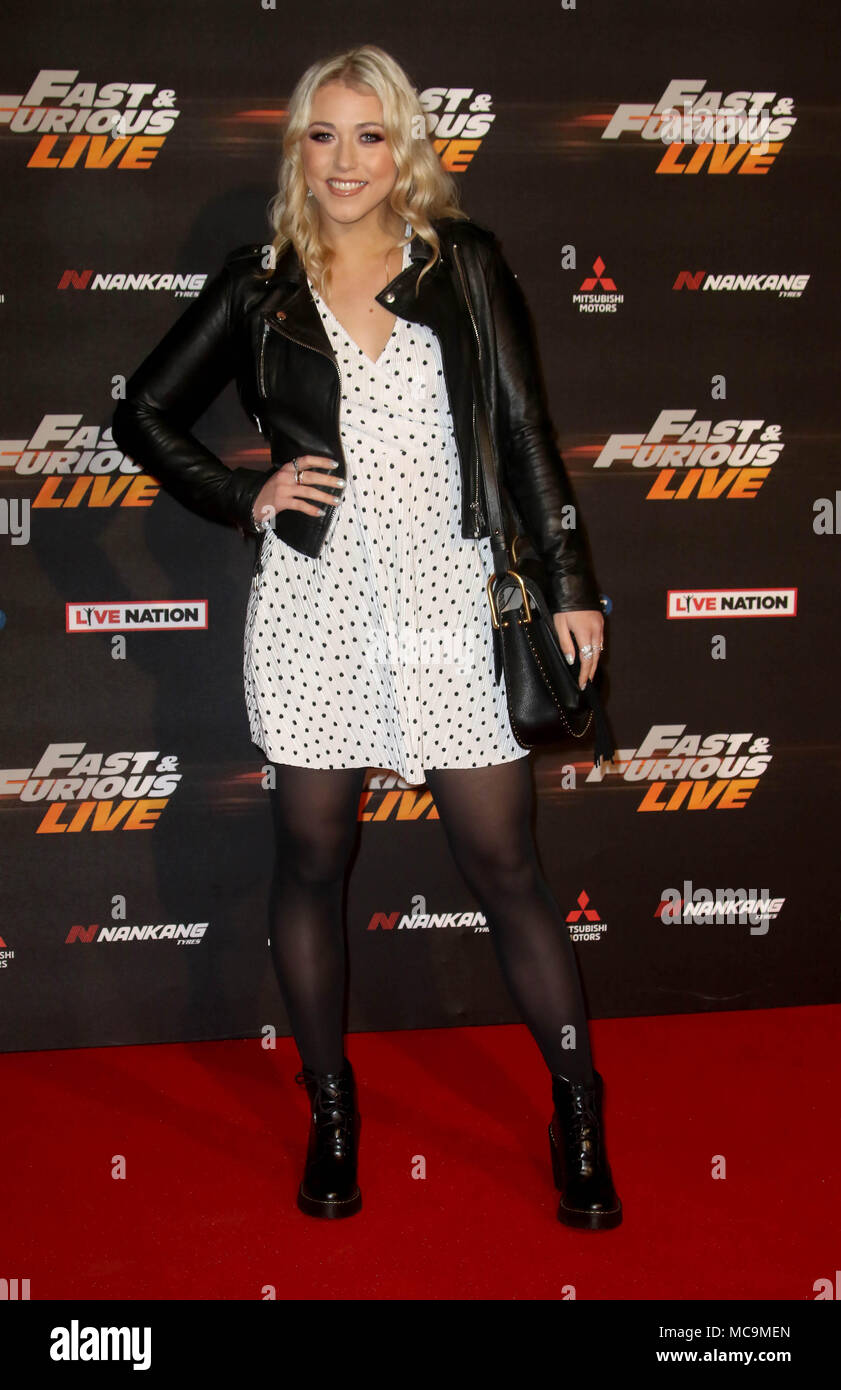 Jan 19, 2018 - Amelia Lily attending Fast & Furious Live at The O2 Arena in London, England, UK - Stock Image
