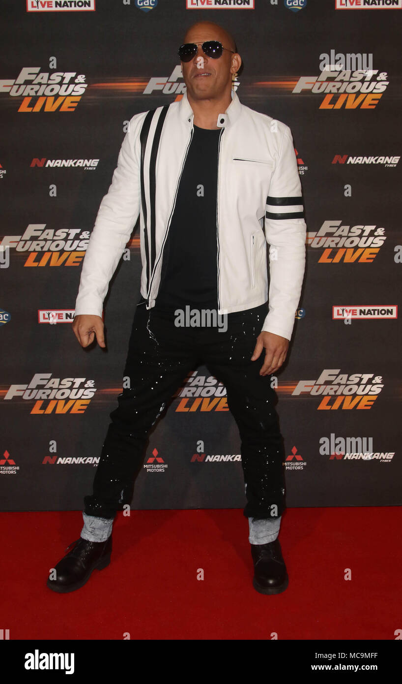 Jan 19, 2018 - Vin Diesel attending Fast & Furious Live at The O2 Arena in London, England, UK - Stock Image