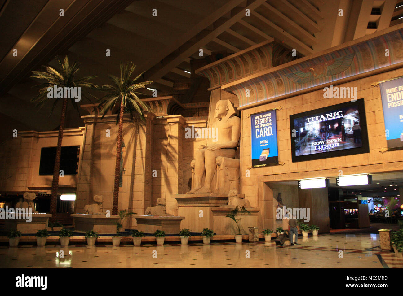 Interior View of the Luxor Las Vegas Hotel and Casino, showing the main entrance portal inside the pyramid, Las Vegas, NV, USA - Stock Image