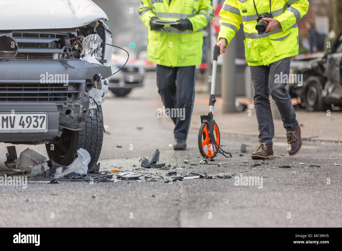 acquisition of accident data with measuring wheel Stock Photo