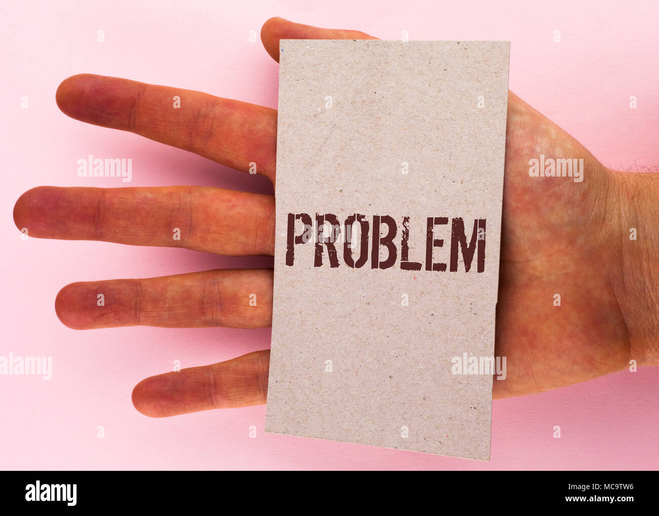 Text sign showing Problem. Conceptual photo Trouble that need to be solved Difficult Situation Complication written Cardboard Piece placed Hand the pl - Stock Image