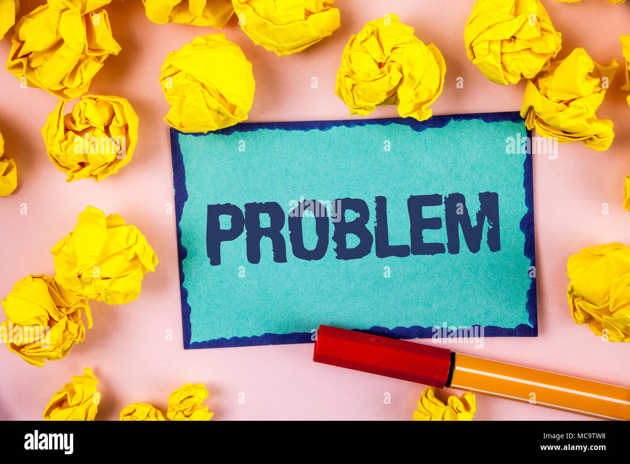 Writing note showing  Problem. Business photo showcasing Trouble that need to be solved Difficult Situation Complication written Sticky note paper wit - Stock Image