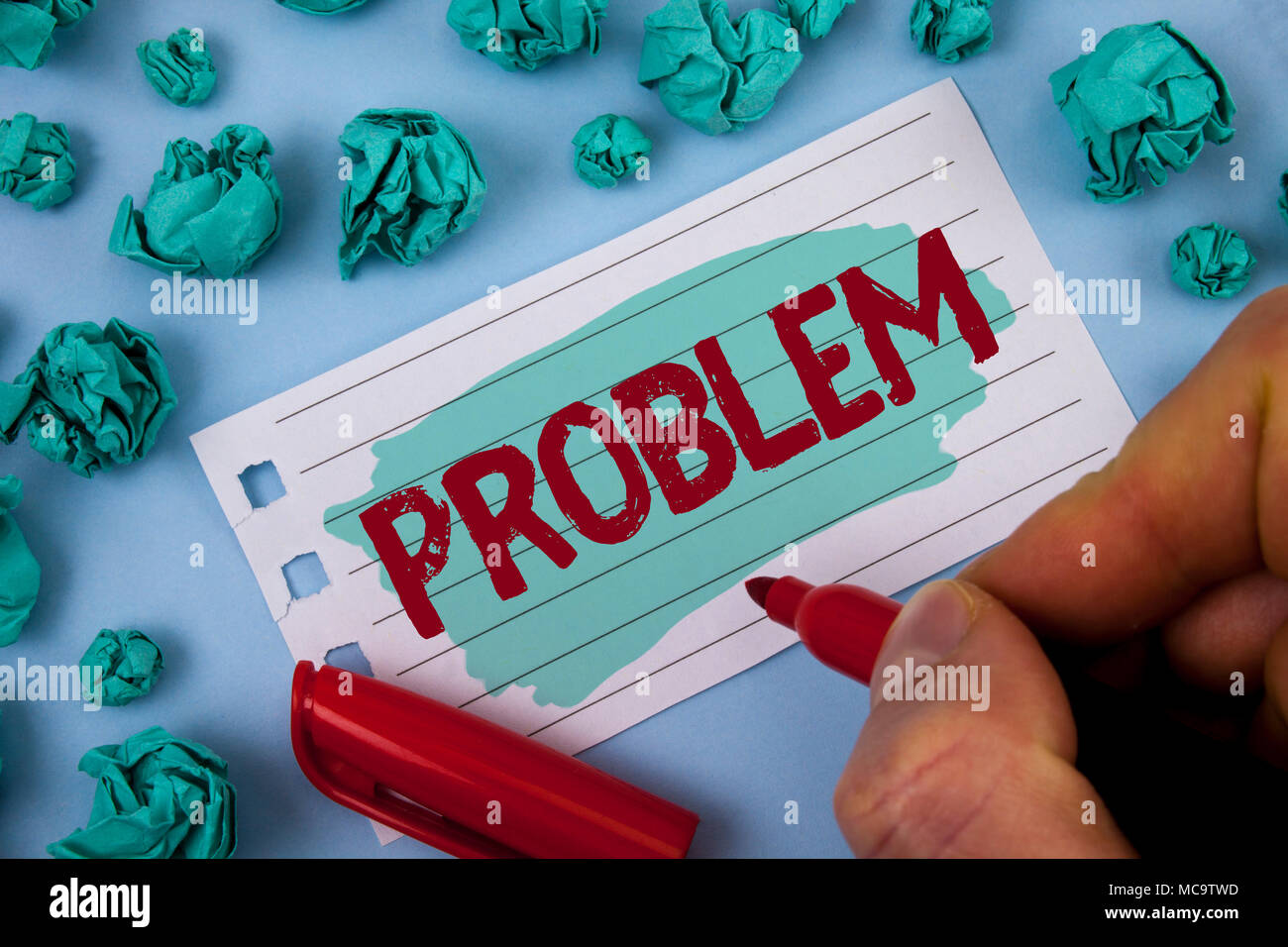 Text sign showing Problem. Conceptual photo Trouble that need to be solved Difficult Situation Complication written by Man Painted Notepad Paper holdi - Stock Image