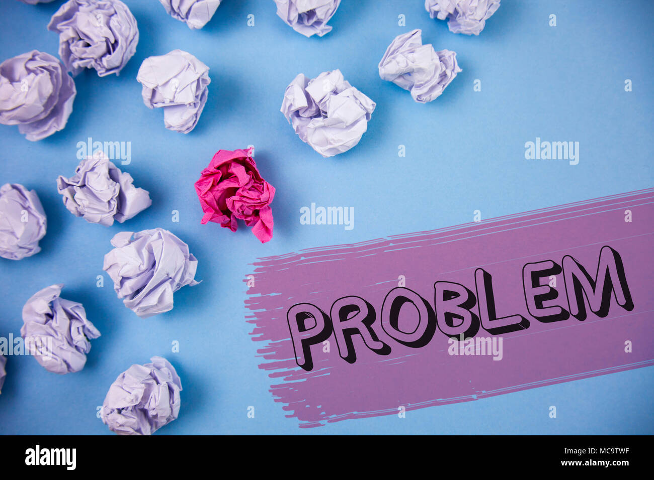 Word writing text Problem. Business concept for Trouble that need to be solved Difficult Situation Complication written the Painted background Crumple - Stock Image