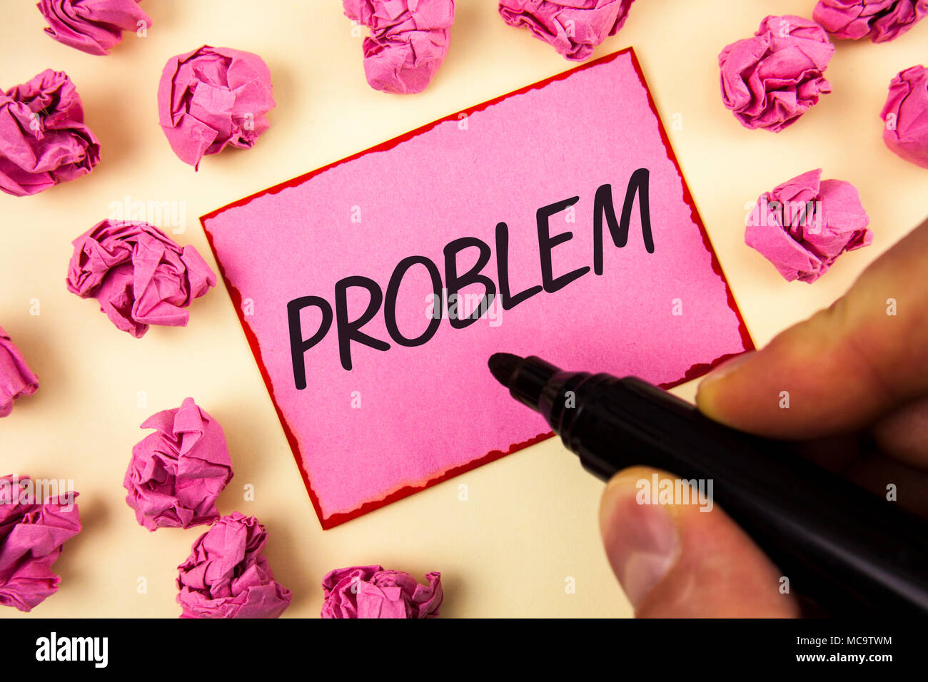Text sign showing Problem. Conceptual photo Trouble that need to be solved Difficult Situation Complication written by Man Sticky Note paper holding M - Stock Image