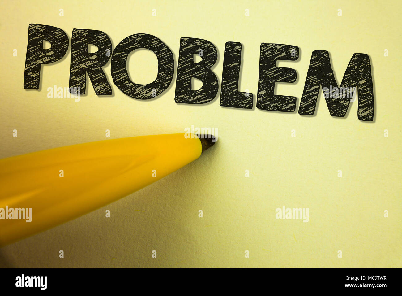 Word writing text Problem. Business concept for Trouble that need to be solved Difficult Situation Complication written plain background Pen next to i - Stock Image