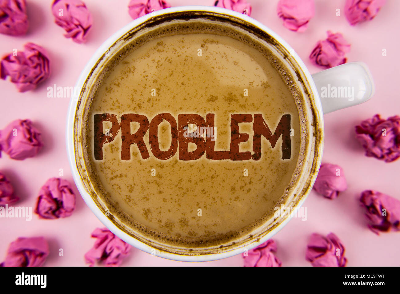 Writing note showing  Problem. Business photo showcasing Trouble that need to be solved Difficult Situation Complication written  Coffee in White Cup  - Stock Image