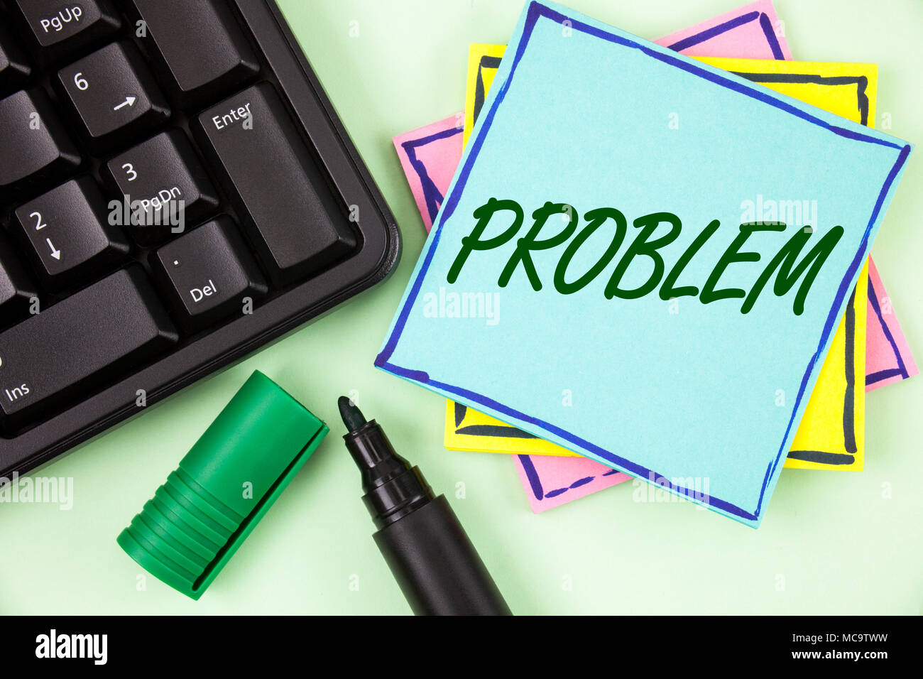 Handwriting text writing Problem. Concept meaning Trouble that need to be solved Difficult Situation Complication written Sticky Note paper plain Gree - Stock Image
