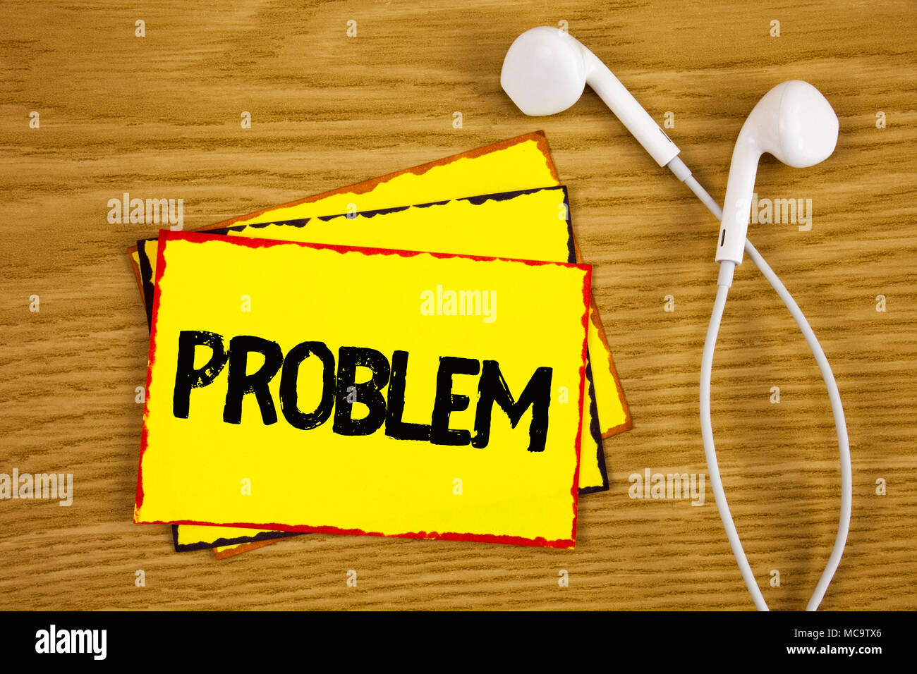 Word writing text Problem. Business concept for Trouble that need to be solved Difficult Situation Complication written Yellow Sticky Note Paper woode - Stock Image