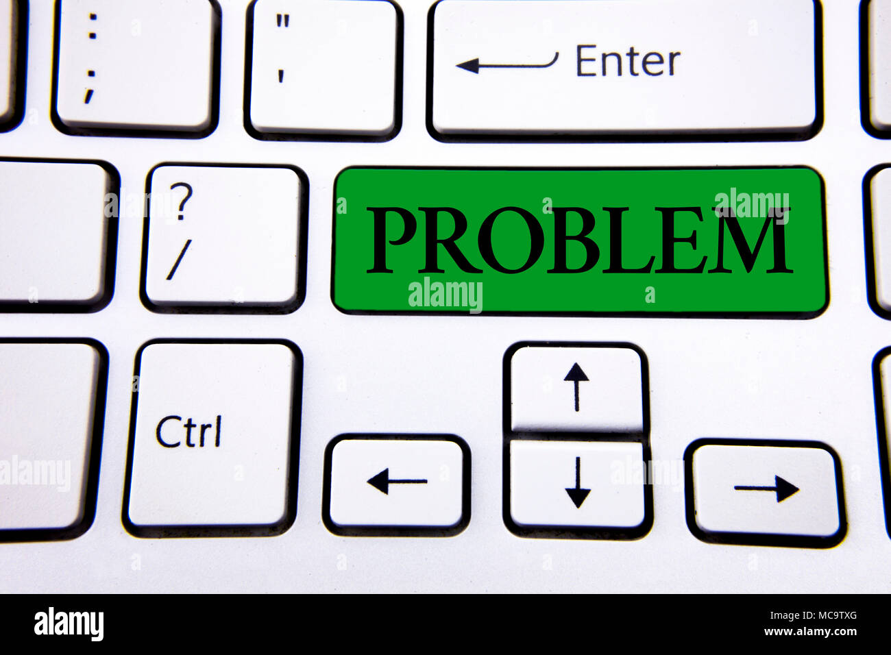 Handwriting text writing Problem. Concept meaning Trouble that need to be solved Difficult Situation Complication written Green Key Button White Keybo - Stock Image