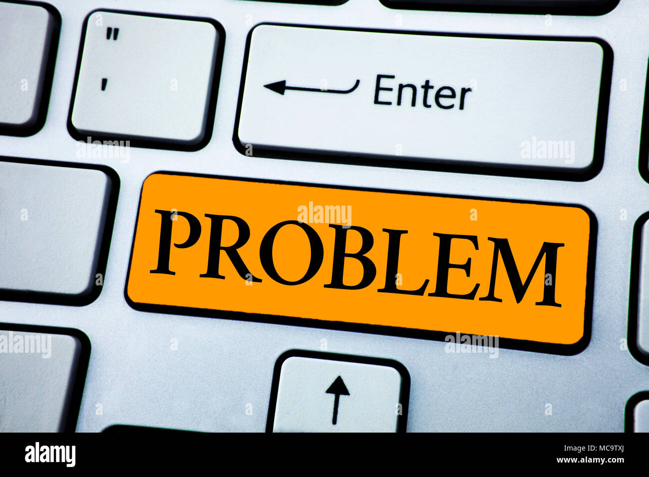 Handwriting text Problem. Concept meaning Trouble that need to be solved Difficult Situation Complication written Orange Key Button White Keyboard wit - Stock Image