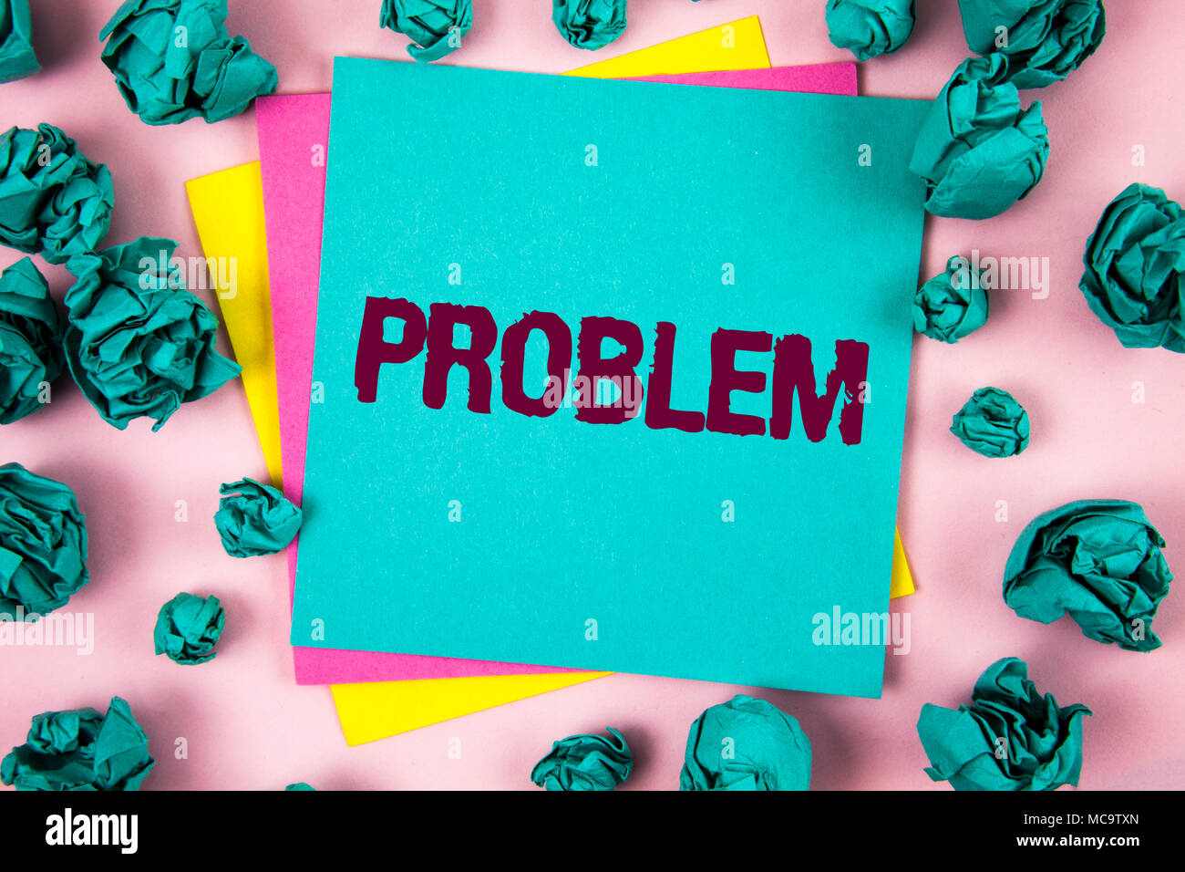 Handwriting text Problem. Concept meaning Trouble that need to be solved Difficult Situation Complication written Sticky Note Paper plain background C - Stock Image
