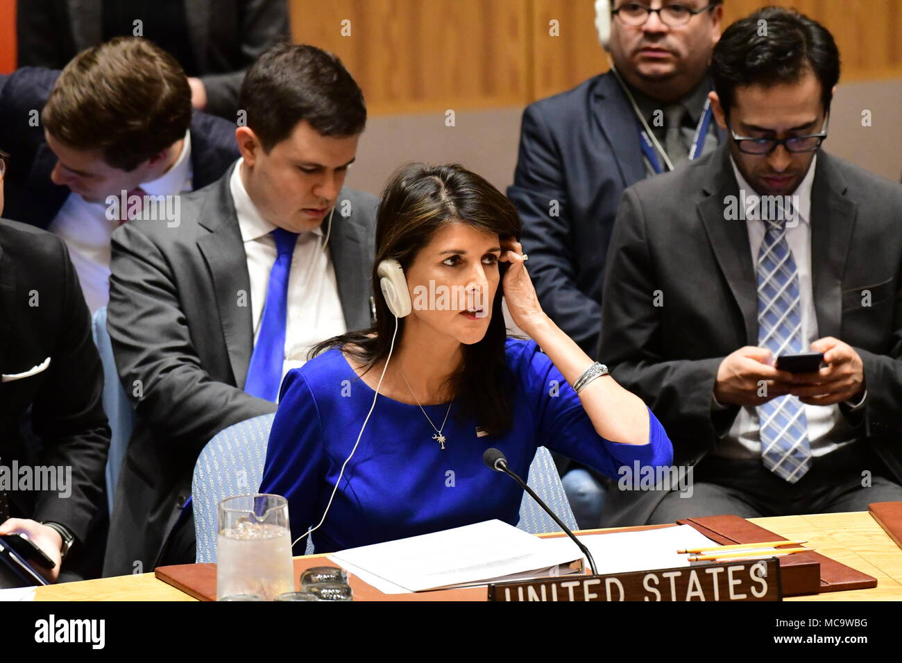 New York City, United States. 14th Apr, 2018. US Representative Nikki Haley. The United Nations Security Council met in special session Saturday morning to debate US & allied air attacks against alleged Syrian government chemical weapons facilities. Credit: Andy Katz/Pacific Press/Alamy Live News - Stock Image
