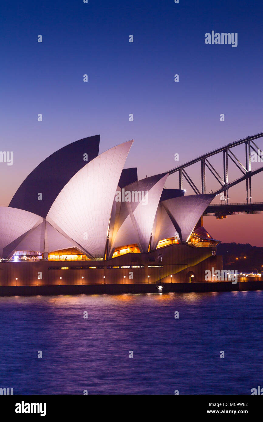 Sydney Opera House and Sydney Harbour Bridge, in Australia, with copy space for editorial layout. - Stock Image