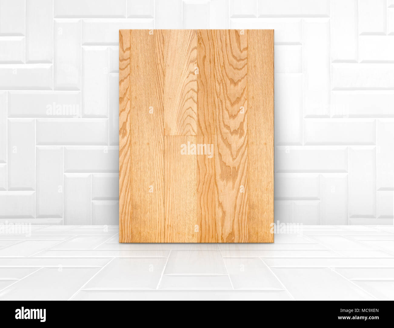 Wood Board Mock Up In Glossy White Tile Ceramic Roommodern Texture Backgroundwall Business Presentation Minimal Style ConceptMock For Disp