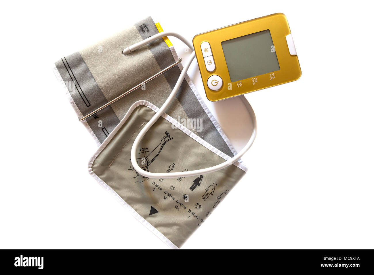 Digital Blood Pressure Monitor isolated on white background. - Stock Image