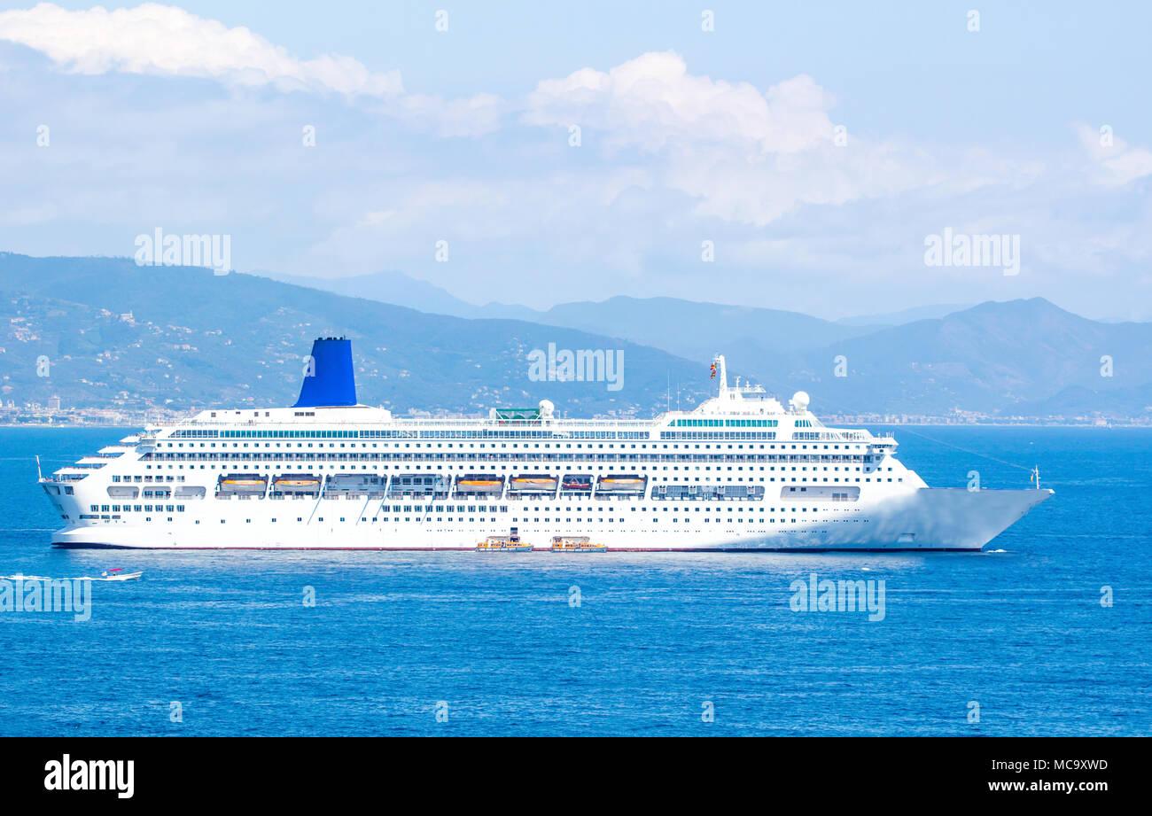 Big cruise ship in the blue sea in summer  Beautiful