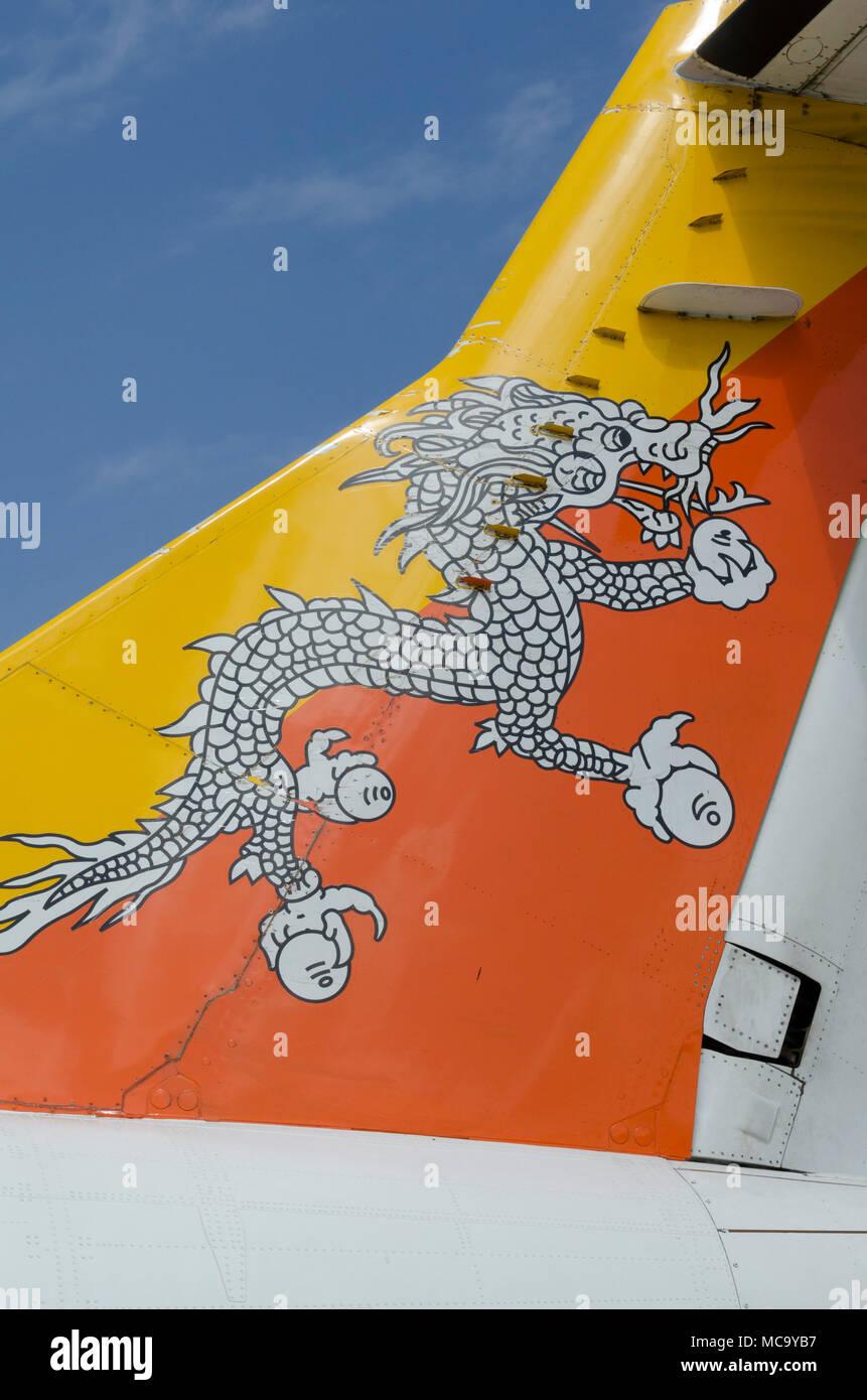Tail of Bhutan Airways ATR 42 at Paro Airport, Bhutan - Stock Image