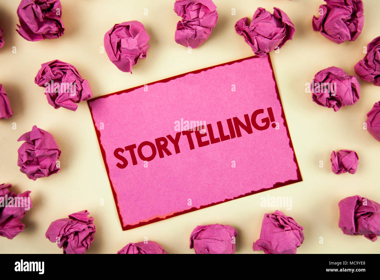 Conceptual hand writing showing Storytelling Motivational Call. Business photo showcasing Tell short Stories Personal Experiences written Sticky Note  - Stock Image