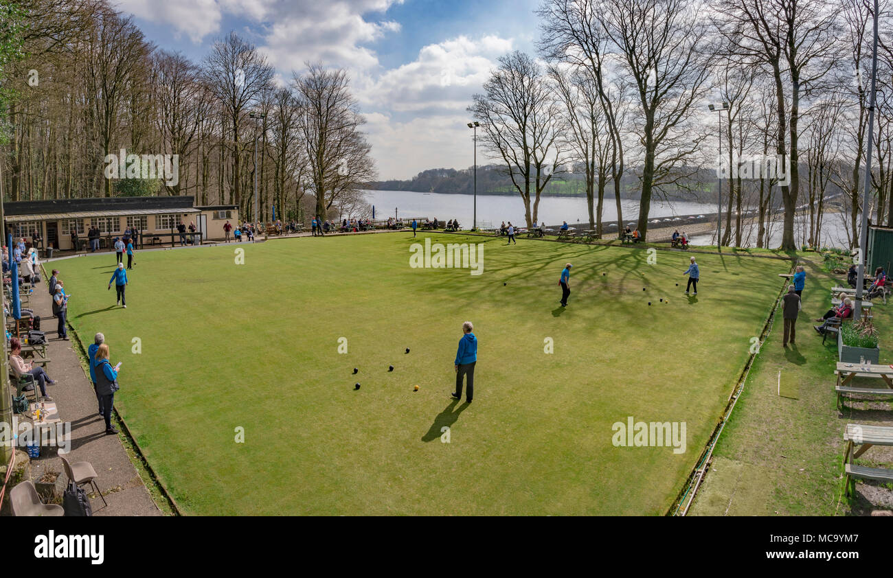 Ladies crown green bowling match at Rivington. - Stock Image