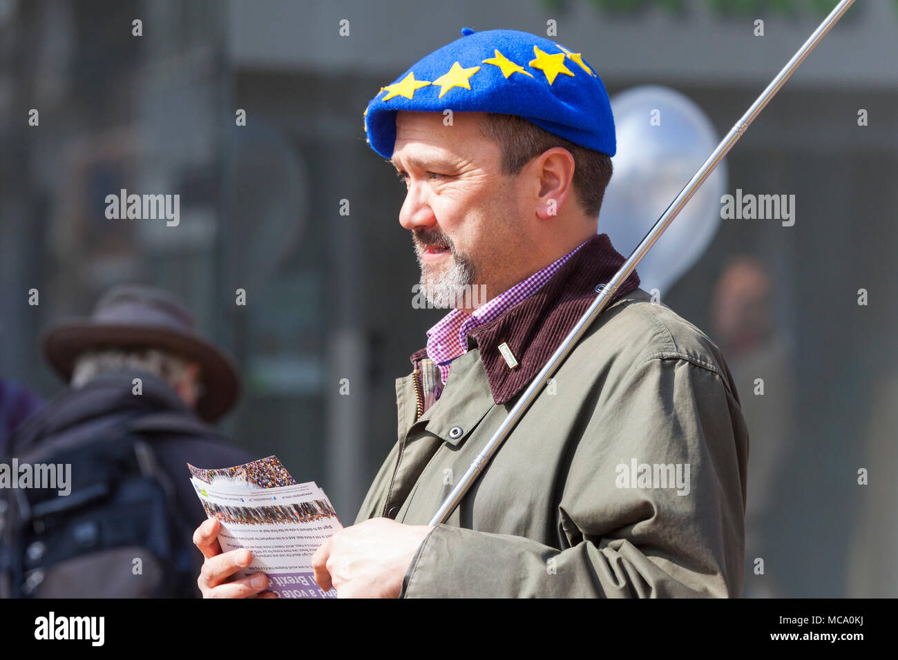 People's vote. A Protest is being held in the town centre of Ashford in Kent this morning demanding a vote on the final Brexit deal. The people protesting are demanding the right to a say on how the deal should be handled. © Paul Lawrenson 2018, Photo Credit: Paul Lawrenson / Alamy Live News - Stock Image