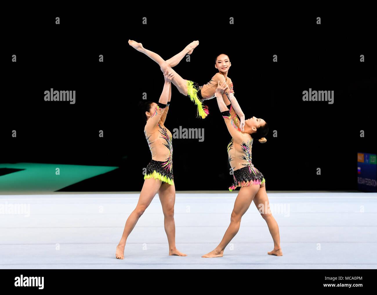 Antwerp, Belgium, 14 April 2018  The Chinese Women's Team performs